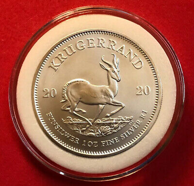 2020 SOUTH AFRICA 1 oz SILVER KRUGERRAND 1 RAND COIN GEM BU IN CAPSULE