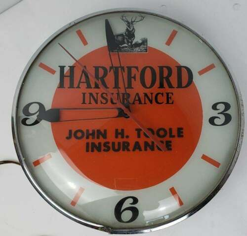 "Hartford Insurance 14 1/2"" Dia. Lighted Bubble Wall Advertising Office Clock"