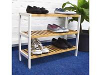 Relaxdays Bamboo Shoe Rack, With 3 Shelves, 70 x 54.5 x 24.5 cm, for 12 Pairs of Shoes, Brown/White