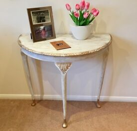 Shabby chic Demi Lune hall/console table