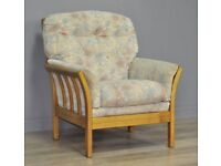 Attractive Floral Upholstered Single Armchair Side Bedroom Arm Chair, Oak Frame