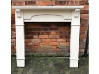 Vintage look solid wood heavy fire surround with large top shelf