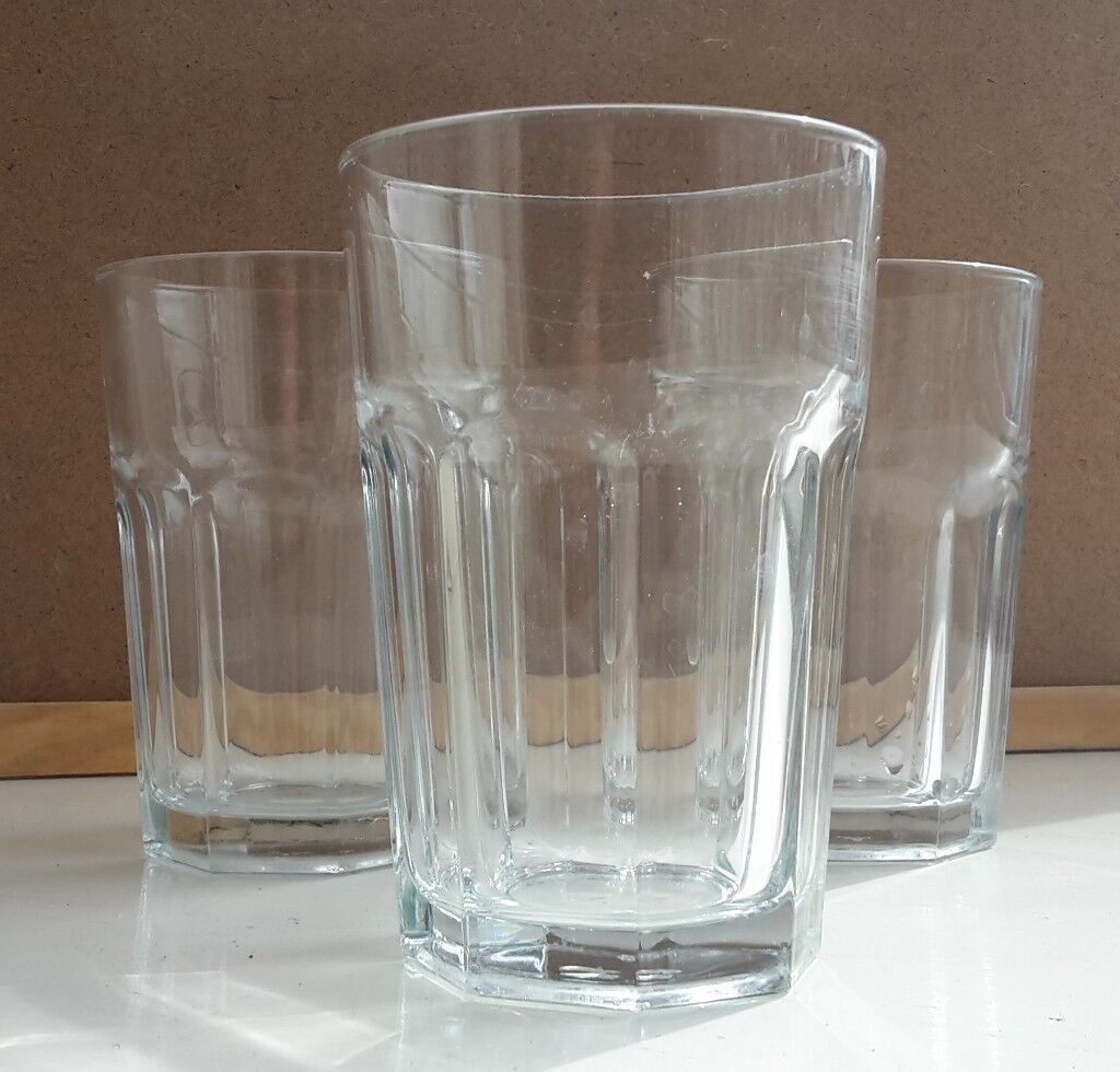 40d5f17488f0 Set of three simple thick glass drinking glasses