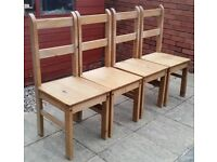 4 wooden dining chairs. In used but good condition. strong and sturdy, just need a clean.
