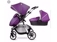 Silver Cross Pram and Pushchair Single Seat Stroller, Purple Buggy, 2 in 1