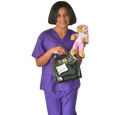 Kids Doctor Costume with REAL Scrubs, Scrubs Bear and Doctor Bag](Kid Bear Costume)