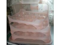 Cake carrier holds 36 cakes 3 removable trays or one large cake brand new never used/baking/birthday