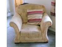 Comfy Fabric covered Armchairs you can sink into in excellent condition