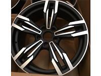 "One 19"" inch 5 Twin Spoke 5x120 / 8.5j wheel fits BMW 5 series M5 3 series M3 black machined face"