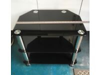 Television stand, black glass/ silver