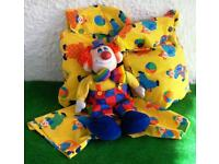 Four Large Toy Sacks and a Clourful Clown