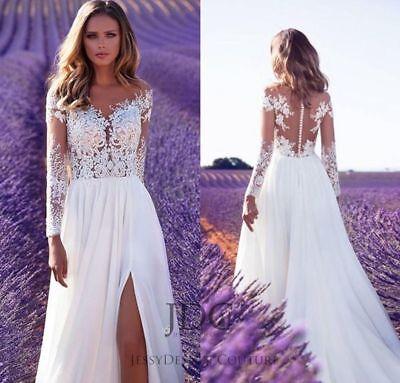 Sheer Spitze Tattoo Brautkleid Langarm Perlen robe de mariée Weiß Ivory 36 38  ()