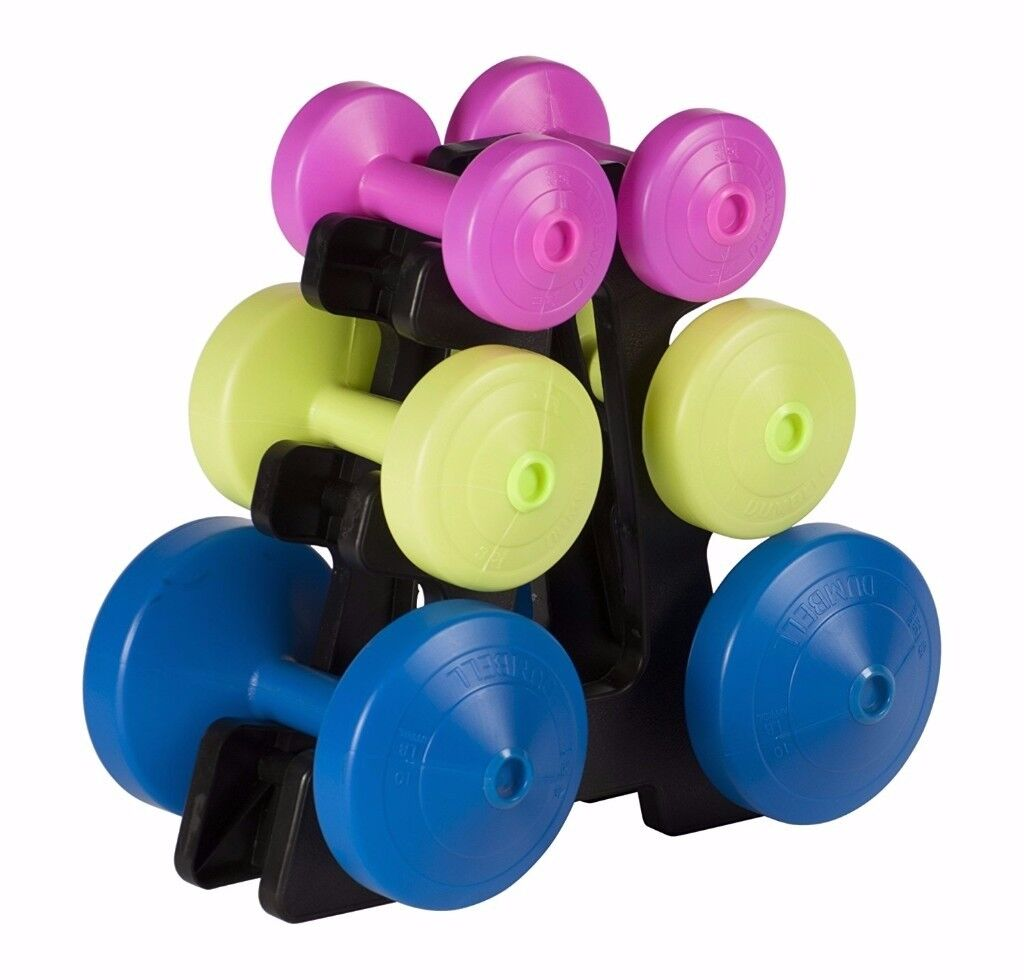 York Fitness Multi-Colour Dumbell Weight Set and Stand