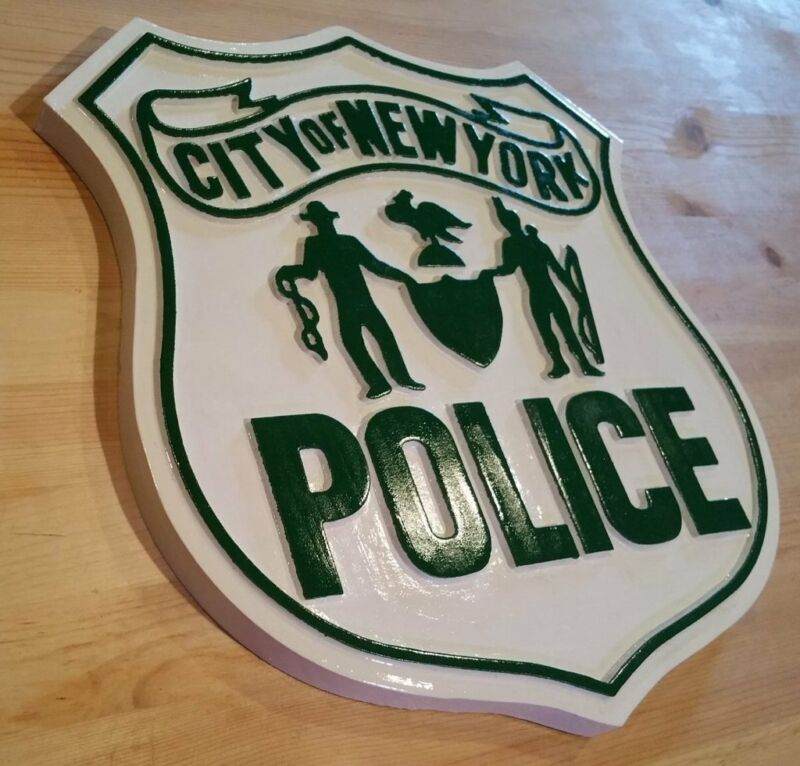 Early Classic New York Police 3d routed wood patch sign plaque award Custom