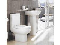 Ex Display'Pure'550'Studio'Roundline'Basin+Tap,Pedestal'Toilet Suite+Soft Close Seat