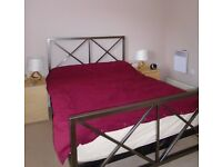 M&S Lockshill double bed and matress, well crafted cast steel frame with a pewter effect finish