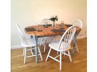 Solid Pine Extendable 6 Seater Dining Table & 4x Chairs