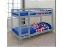 3ft Grey Pine Bunk Bed