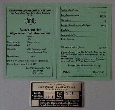 ABE S 51 SIMME  Mokick KKR Betriebserlaubnis SIMSON OHNE Typenschild =  DDr Stil