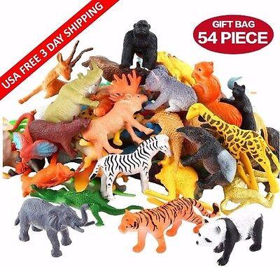 Jungle Animals 54 Pack Assorted Mini Vinyl Plastic Animal Toy Set Funcorn Toys