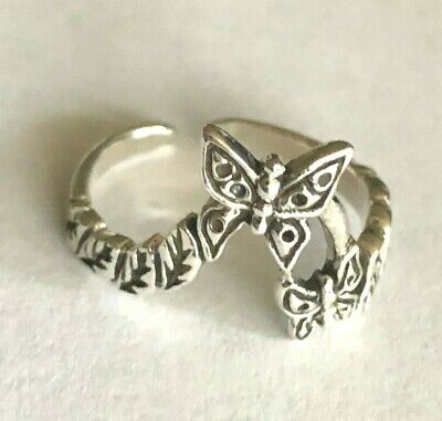 Sterling Silver! .925 TOE RING Butterfly Duo Elegance  $9.99