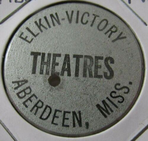 Vintage Elkin-Victory Theatres Aberdeen, MS Wooden Nickel - Token Mississippi