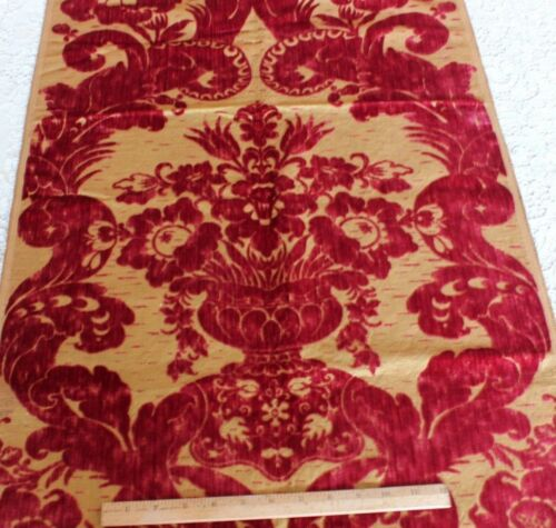 Antique French 19thC Victorian Big Floral In Vase Silk Cut Velvet Fabric~Xmas
