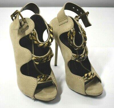 Giuseppe Zanotti Design Womens Beige Ankle Strap Chain Heels Leather 37.5