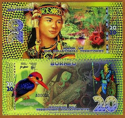 Equatorial Territories, Borneo (Indonesia), 20 E Francs, POLYMER, 2014, UNC