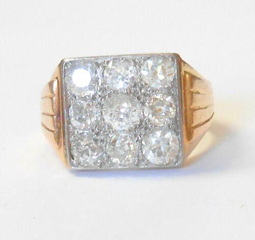 Vintage 750 18K Yellow Gold Dazzling Mine Cut Diamonds 2 Carats Mens Ring Size 9