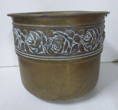 ANTIQUE BRASS JARDINIERE PLANTER POT EMBOSSED ROSE FLOWERS DECORATIVE BAND