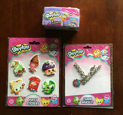 Shopkins Charm Bracelet/Puffy Stickers/2 Shopkins Characters