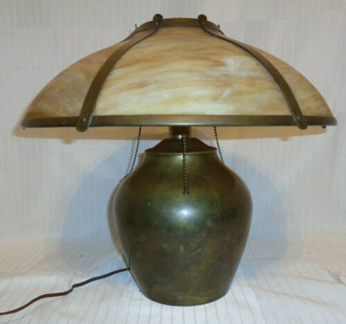 SUPER ARTS & CRAFTS LAMP, PERFECT SIZE, LILLIAN PALMER?, GLASS IS PERFECT