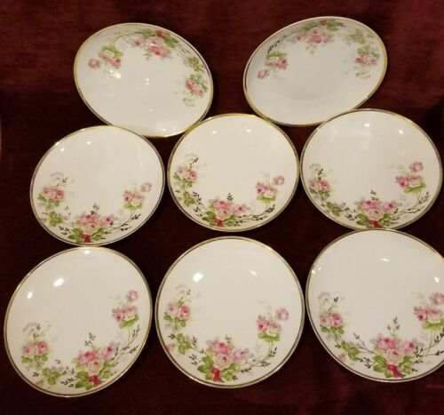"""Vintage Wittelsbach Bavaria Germany Set of 8 Hand Painted Plates 7-1/2"""" VG"""