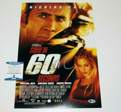 ACTOR NICOLAS CAGE SIGNED 'GONE IN 60 SECONDS' 12x18 MOVIE POSTER BECKETT COA
