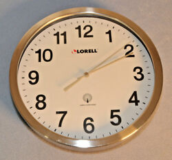 Vintage Lorell Round Stainless Steel Radio Controlled Wall Clock 12 Diameter