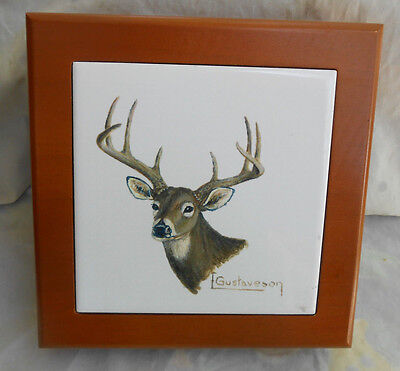 - MENS WOOD DRESSER BOX CERAMIC TILE DEER BUCK STAG VALET JEWELRY FATHERS DAY