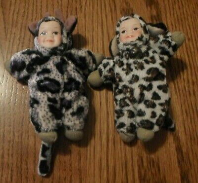 Baby In Cow Costume (LOT OF 2 BABY DOLLS IN ANIMAL COSTUME COW TIGER)