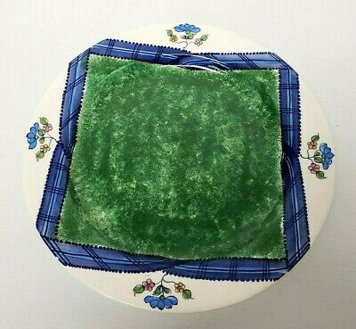 eramiche Hand Painted Made Italy Blue Flowers Round Platter  (Tiffany Blue Platten)