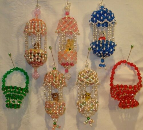 Vintage Beaded Christmas Ornaments - Handmade - All Very Intricate & Well Made!