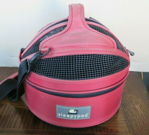 """Sleepypod Mini Mobile Pet Bed Carrier Strawberry Red USED 13"""" W x 12"""" H"""