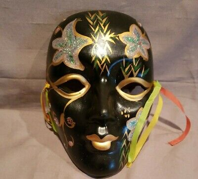 """Porcelain Ceramic Painted Wall Hanging Face Mask 7 1/4""""x 5"""""""