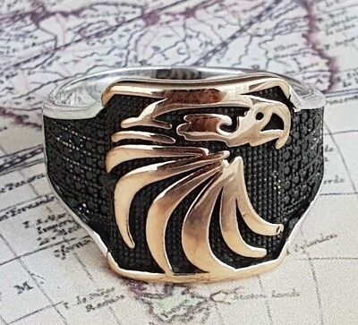 Silver Onyx Eagle Man Ring - Eagle Turkish Black Onyx Gemstone Handmade Solid 925 Sterling Silver Men Ring