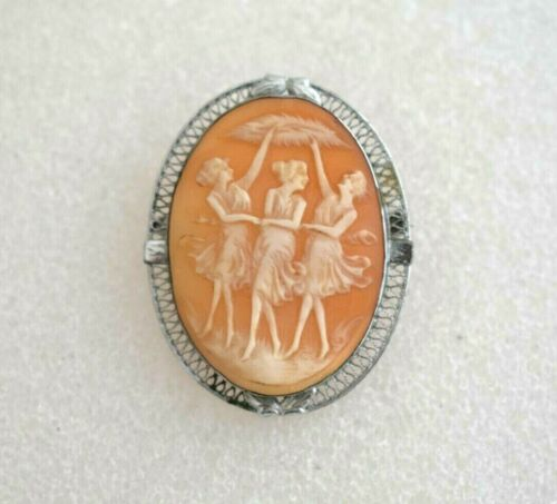 Beautiful Vintage Sterling Silver 3 Graces Ladies Carved Cameo Brooch Pin