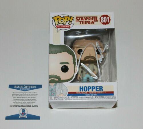 DAVID HARBOUR SIGNED STRANGER THINGS FUNKO POP TOY 801 BECKETT COA HOPPER BAS
