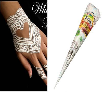 Golecha White Highlighter Henna Cone Temporary Tattoos Body Art 4 pcs