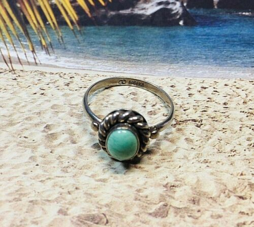 Vintage Sterling Silver 925 Turquoise Ring Blue Green Stone Trading Post - 7.5
