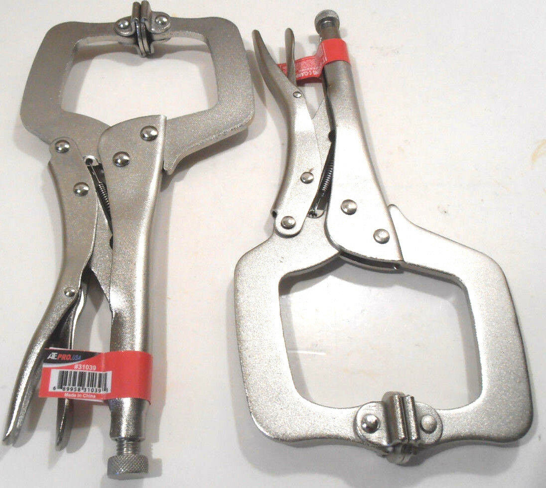 "11"" Locking C Clamp Adjustable Pliers Grip w/ Swivel Pad Vis"