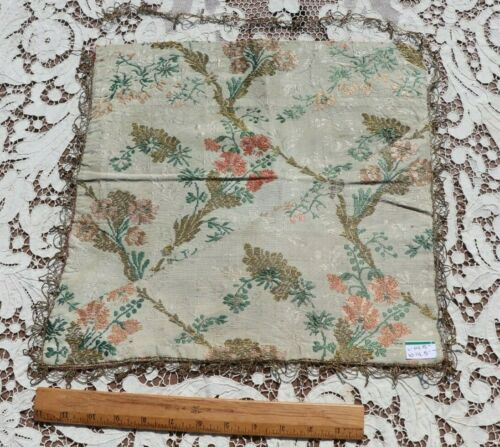 "Antique 18thC French Silk Floral Brocaded Mat~14"" Square~Dolls,Design"