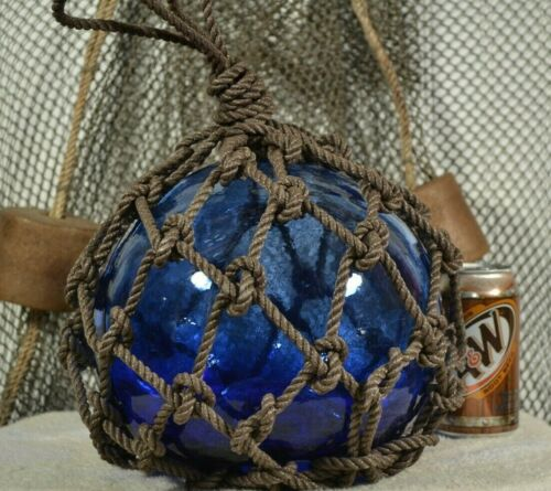 VINTAGE GLASS FISHING FLOAT IN COBALT BLUE